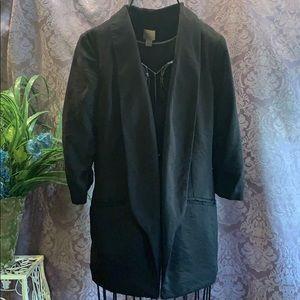 LC Lauren Conrad Ruched Sleeve Open Tuxedo Blazer